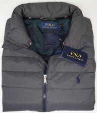NEW $188 Polo Ralph Lauren Mens Puffer Down Vest Gray Full Zip NWT Grey Heather