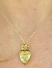 SUPERB PENDANT NECKLACE DIAMONDS 15CARATS LATE19TH BOW HEART GOLD