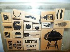 Stampin Up Bar-B-Que Fun Grill Cake Corn Cone Wood Mount Stamp Set of 17 L1016