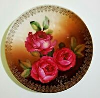 """Bavaria 8"""" Porcelain Plate hand painted with roses"""