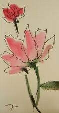 JOSE TRUJILLO ORIGINAL Watercolor Painting SIGNED Small 3x6 Red Pink Floral Art