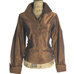 Etcetera 10 Large Top 100% Silk Viscose Combo Long Sl Cuff Blouse Brown Bronze