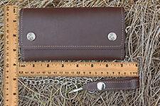 "American Made Handcrafted Biker/Trucker 12"" Chain Genuine Leather Wallet, Brown"