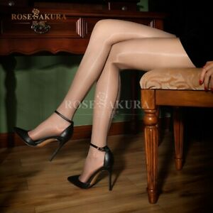 Women Oil Shiny Glossy Back Seam Stocking Thigh High Nylon Ultra-Sheer Pantyhose