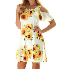 Womens Summer Sunflower Cold Shoulder Mini Dress Holiday Casual Party Sundress