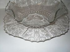 2 Pc Viking Prelude Torte Plate Crimped Bowl Platter Etched Large Glass
