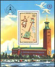 "Mongolie 1986 MUSIQUE/INSTRUMENTS/""STOCKHOLMIA' 86""/stampex 1 V M/S (n17589)"