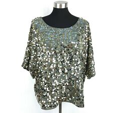 6th & Lane Womens 18 / 20 Brown Sequin Dressy Top Blouse Batwing Sleeve NWOT