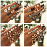 6Pairs Women Vintage Crystal Earrings Jewelry Ear Stud Fashion Boho Earrings Set