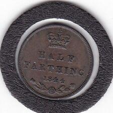1844   Queen  Victoria   One  Half  Farthing  (1/8d)  Bronze  Coin