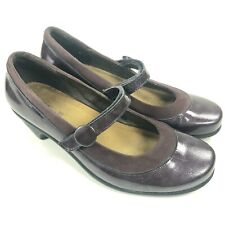 Naot Womens 39 /8 US Purple Patent Leather Suede Mary Jane Heeled Clog Shoes