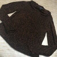 Z-111~ Eileen Fisher Womens Pullover Sweater Brown Marled Long Slv Drape Neck XS