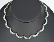 Platinum Baguette Round Marquise Diamond Colombian Green Emerald Choker Necklace