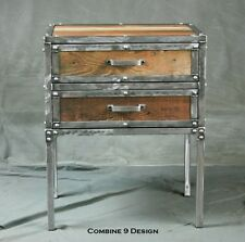 Modern Industrial Nightstand With Drawers Vintage End Table Reclaimed Wood