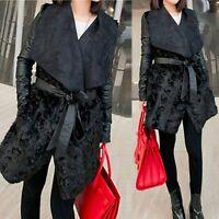 Women Black Warm Faux Fur PU Sleeve Lapel Jacket Coat