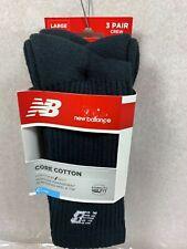 New Balance MEN'S LARGE  3 Pack Crew Core Cotton Socks  Size Large 9-12.5 Black