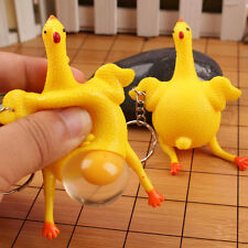 Rubber Hen Chicken Laying Egg Squeezing Stress Relief Keyring Keychain Toys
