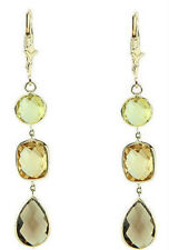 14K Yellow Gold Gemstones Dangling Earrings With Smoky, Lemon Topaz And Citrine
