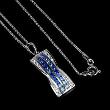 Heated Blue Sapphire Round Diamond Cut 2mm Topaz 925 Sterling Silver Necklace 18