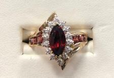 Garnet and Diamond Ring-10kt Yellow Gold