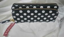 Merona Women's Polka Dots Black White Double Zipper Wristlet Wallet Zip-Around