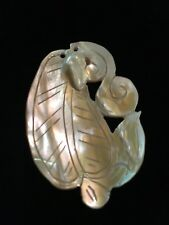 Vintage Carved Chinese Mother of Pearl Shell Blister Pearl Pendant Fan Leaf #2
