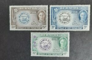 Bermuda stamp set 1948 King George VI. Cent first postage stamp. MH.