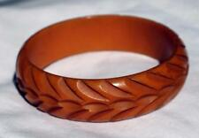 "Vintge BAKELITE Butterscotch Deeply Curved 2 5/8""d x 3/4"" Bangle Bracelet Tested"