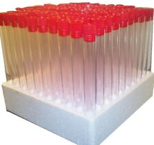 100 x 17 mm tubes with Red stoppers and tray