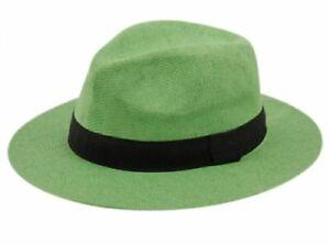 Unisex Adjustable Summer Straw Fedora Hat Sun Cap Panama Wide Brim