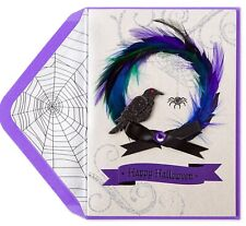 Papyrus Feathered Spooky Wreath Halloween Greeting Card NIP