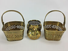 Solid Brass 2 Small Baskets and Lidded Container - Made in India - 4 Pc Lot