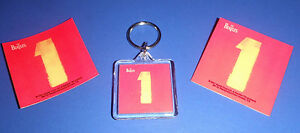 The Beatles  RARE 1 ONE Greatest Hits Red MAGNET KEYCHAIN AND PIN LOT SET