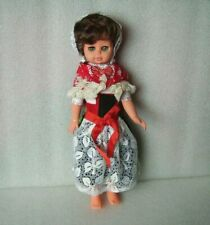 Vintage 37 cm Plastic And Rubber Doll In Traditional Costume,Germany-Gdr/Ddr