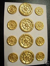 Gold Plated BLAZER Replacement BUTTON SET Cast Metal Coat Shank  24/36 DB 14p