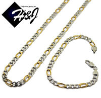 """24""""MEN's Stainless Steel 5mm Gold Silver Figaro Link Chain Necklace Bracelet SET"""