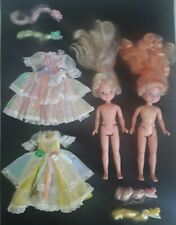 EUC 1986 Vtg Lady Lovely Locks & Maiden Curly Crown Pixietails Dolls Dresses Lot