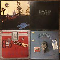 THE EAGLES Vinyl LP lot Hotel California Long Run Live w/ Poster Greatest Hits
