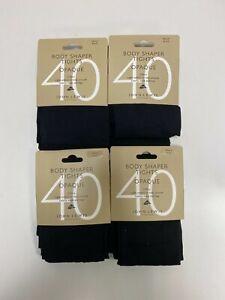 John Lewis 40 Denier Body Shaper Opaque Tights. 4 Packs Of 2 Pairs.. Black