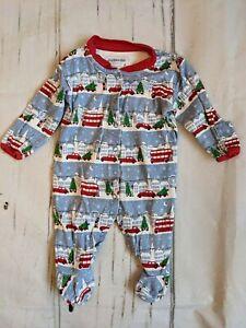 Jojo Maman Bebe, 0-3 months, babygrow with London Christmas scene.