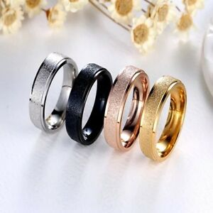 USA 6mm Stainless Steel Ring Man/Women's Band Silver Black Gold Rose Size 5-15