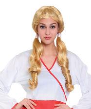 Long Blonde Wig With Pigtails Oktoberfest School Girl Fancy Dress Prop