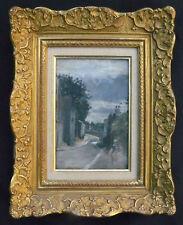 Tableau début XX° Montmartre (?) - paysage de rue (sur panneau cigare) + cadre