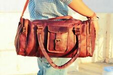 Pure Real Leather Travelling Luggage Gym Bag Vintage Overnight Duffle Bag