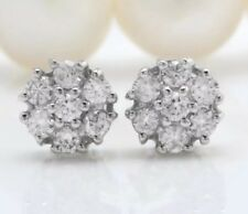 1.20 Carat Natural  VS2-SI1 Diamonds in 14K Solid White Gold Stud Earrings