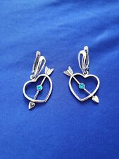Silver Plated Earrings. Blue Stones. Articulated Heart And Arrow.