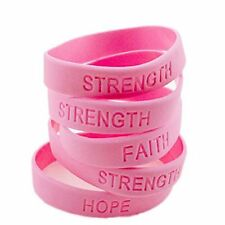 Pink Breast Cancer Awareness Bracelets STRENGTH HOPE Faith Survivor 12pc