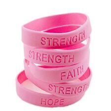 12 Pink RIBBON Breast Cancer Awareness Bracelets STRENGTH HOPE Faith Survivor