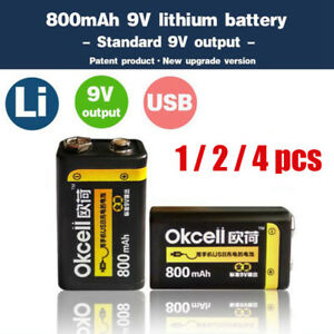 OKcell  9V 800mAh USB Rechargeable Battery for RC Helicopter Model Microphone