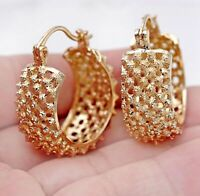 18K Gold Filled Earrings Luxury Hollow Round Stud Hoop Bohemia Clip-On Ball L8